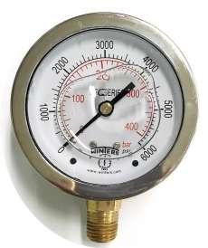 Manômetro (escala: 400BAR 6000PSI saída por baixo)
