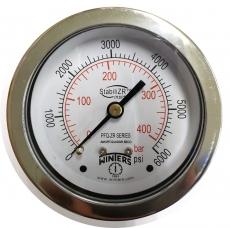 Manômetro em Aço Inoxidável StabiliZR - Modelo 400BAR 6000PSI - Traseira